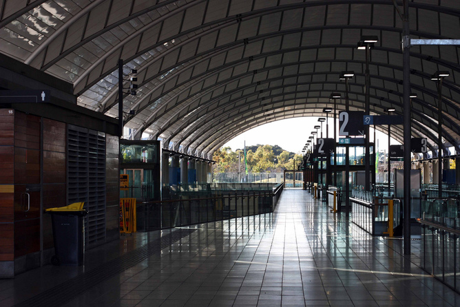 All Quiet Now Sydneys Once Frenetic Olympic Park Railway Station Tim Keegan