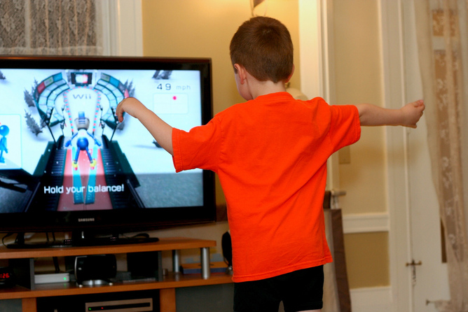 Child playing Wii, Active Gaming