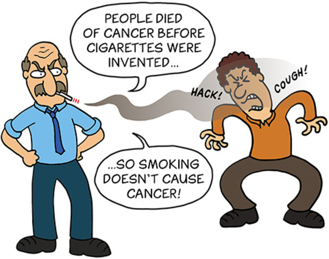 John Cook's Cartoon: People died of cancer before cigarettes were invented.